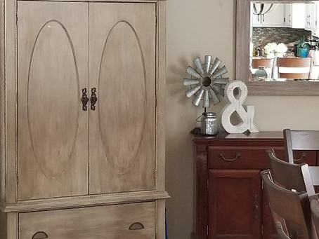Distressed Taupe Armoire
