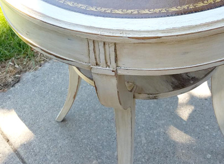Distressed Linen White Drum Table