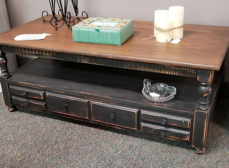 Distressed Black Coffee Table with Stained Wood Top