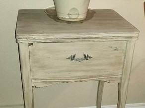 Distressed Taupe Antique Sewing Machine