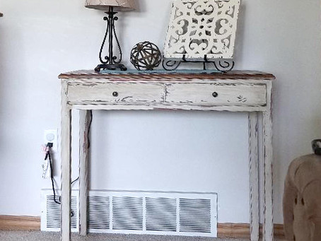 Distressed Linen White Table/Desk with Drawer and Stained Wood Top