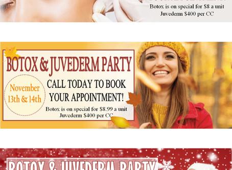Serenity Spa & Salon Botox & Juvederm Party Website Banner Advertising