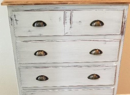 Distressed Icy Gray Dresser with Wood Top