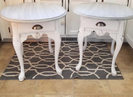 Distressed Matching End Tables/Side Tables with Linen White Legs & Aged Gray Top