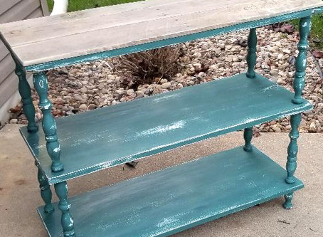 Distressed Tidal Pond Book Shelf with Pallet Wood Top