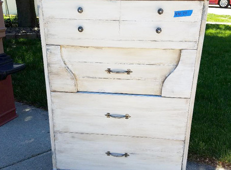 Distressed Linen White Dresser with Stained Wood Top