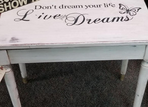 """Distressed Linen White """"Don't dream your life live your Dreams"""" Opening Piano Bench"""