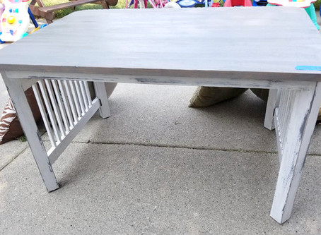 Distressed Lined White Coffee Table with Gray Stained Top