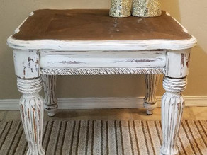 Distressed Linen White End Table/Side Table with Wood Top