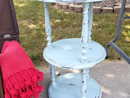 Distressed Serenity Blue Three Tier Table/Plant Stand