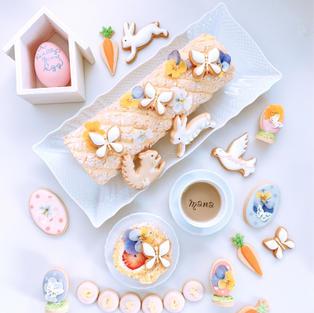 お花で華やかに!春のビスキュイロールケーキ♪ by cotta