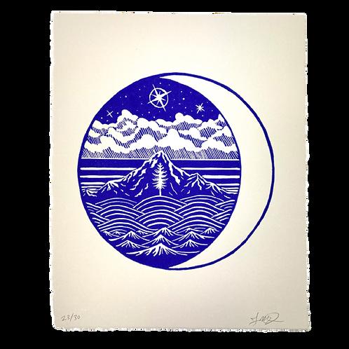 Cascadian Nights Lino Print by Jason McDonald