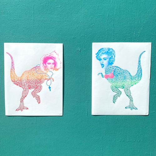 "80s + 90s ""Madonnasaurus"" 16x20 Screenprint Posters by Jonathan Hanisits"