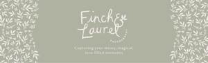 """Header with off-white Finch and Laurel Photography logo on sage green backdrop with tagline reading """"Capturing your messy, magical, love-filled moments"""" and sketches of white branches and leaves as borders on sides."""