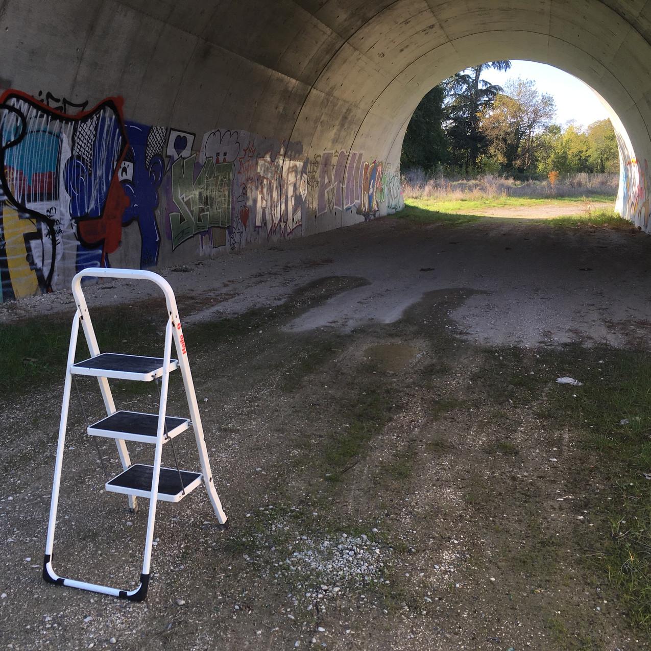 séance photo backstage, tunnel