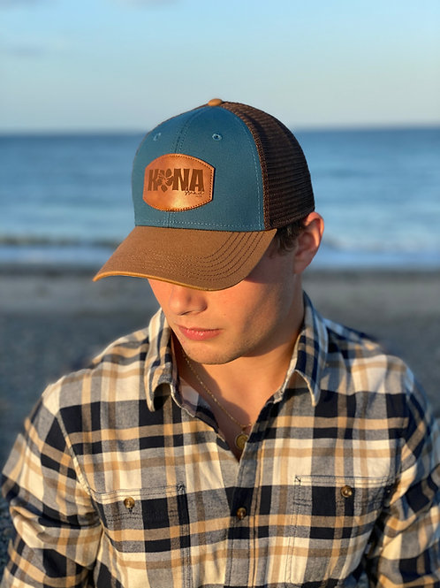 Tropic Water Blue Leather Patch Trucker