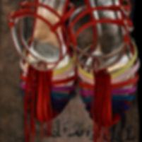 Sandale Mina Cabeceo couleur rouge bleu.