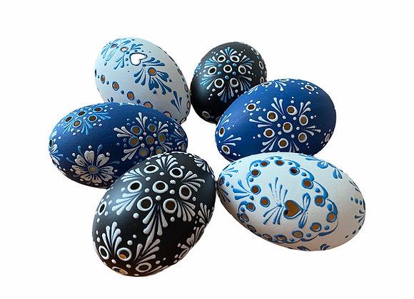 Madeirové husí kraslice - bílomodré, černé, modré