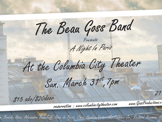 The Beau Goss Band presents : A night in Paris    on 3/31/2019 7pm