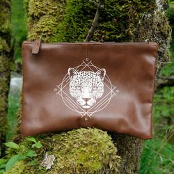 Vegane Leder-Kulturtasche, Leopard