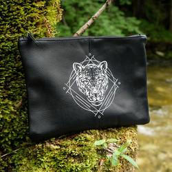 Vegane Leder-Kulturtasche, Motiv Panther