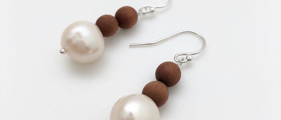 Wooden beads and pearl earrings