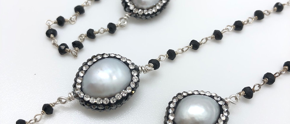 Pave Encrusted Pearl Station Necklace
