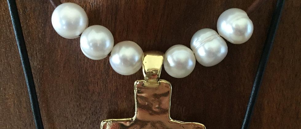 WS Jesus Cross Leather Necklace