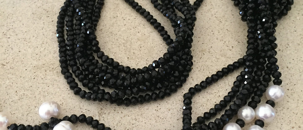 3 Strand Black Crystal & Pearl Lariat