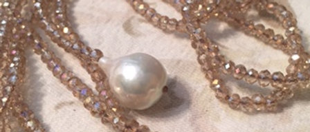WS Baroque Pearl Champagne Crystal Lariat
