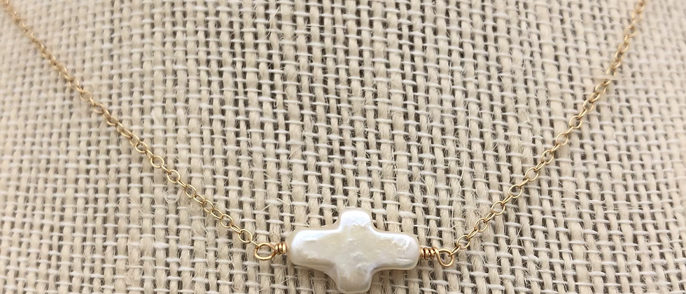 Blessing pearl cross necklace