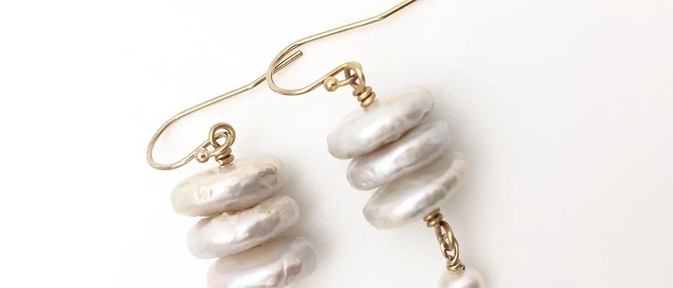 Triple Stack Pearl Earrings