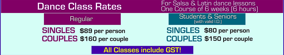 Rates for dance lessons with Hot Salsa Dance Zone