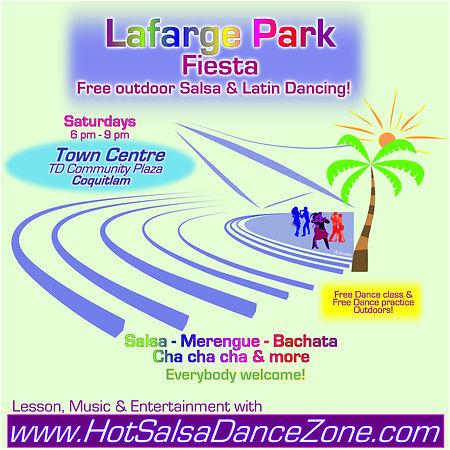 Lafarge Park Fiesta TD Community Plaza Coquitlam - Free outdoor Salsa dancing with Hot Salsa Dance Zone