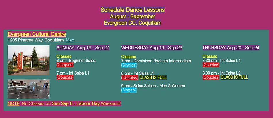 Schedule Evergreen Summer Fall 2020 with Hot Salsa Dance Zone at EvergreenCultural Centre, Coquitlam