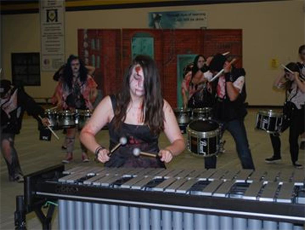 Justine Calcagno, a Grade 8 student at Dundas' St. Augustine School, is in her second year playing Vibraphone in St. Mary Catholic Secondary School's Drumline. Photo by Craig Campbell, Dundas Star News