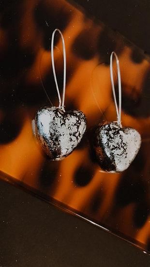 Silver + Black Crackle Hearts