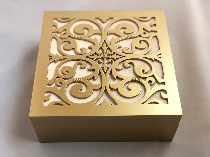Gold Wooden Box of chocolate