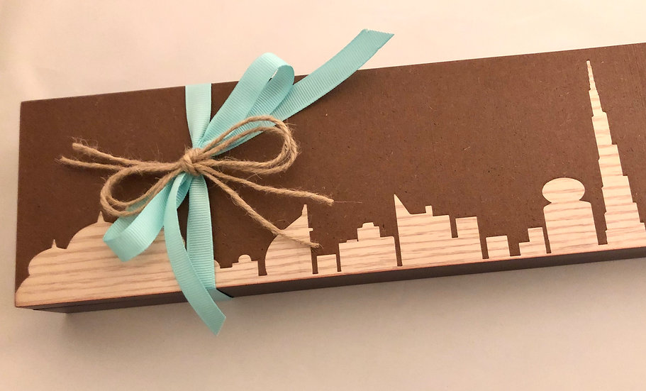 Dubai Skyline Wood Box of chocolate