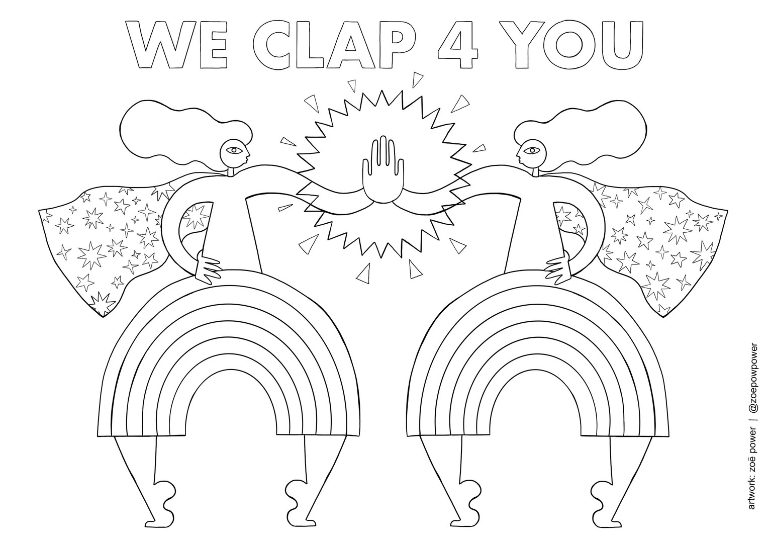 Colouring In sheet - WE CLAP 4 YOU