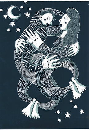 Limited Edition 'Lovers' Linocut
