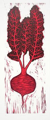 Beetroot Woodcut Reduction Print
