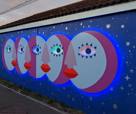 Electric Moon LED Mural