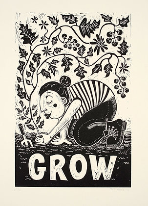 Limited Edtion 'Grow' Linocut Print