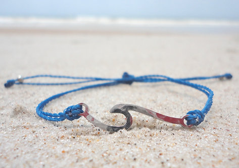 Wave Charm Adjustable Bracelet--Blue Thread