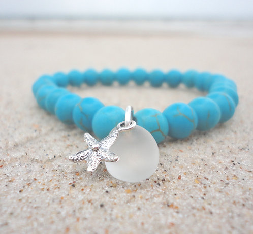 Turquoise Bead Stretch Bracelet with Sea Glass Charm