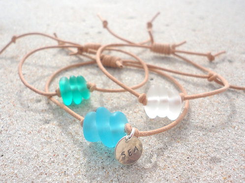 Leather Adjustable Sea Glass Bracelet