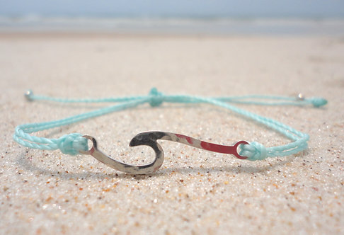 Wave Charm Adjustable Bracelet--Aqua Thread