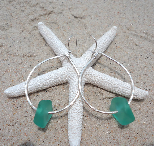 Drop Earrings with Teal Sea Glass