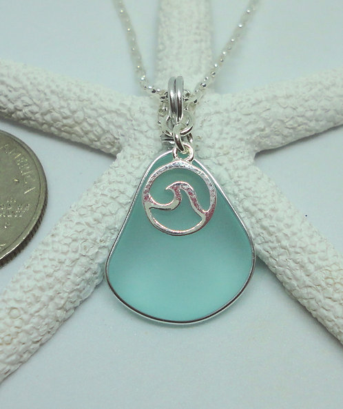 Small Wave Charm on Pear Pendant